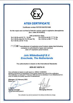 Atex certificaat Rotor 01.02.2021