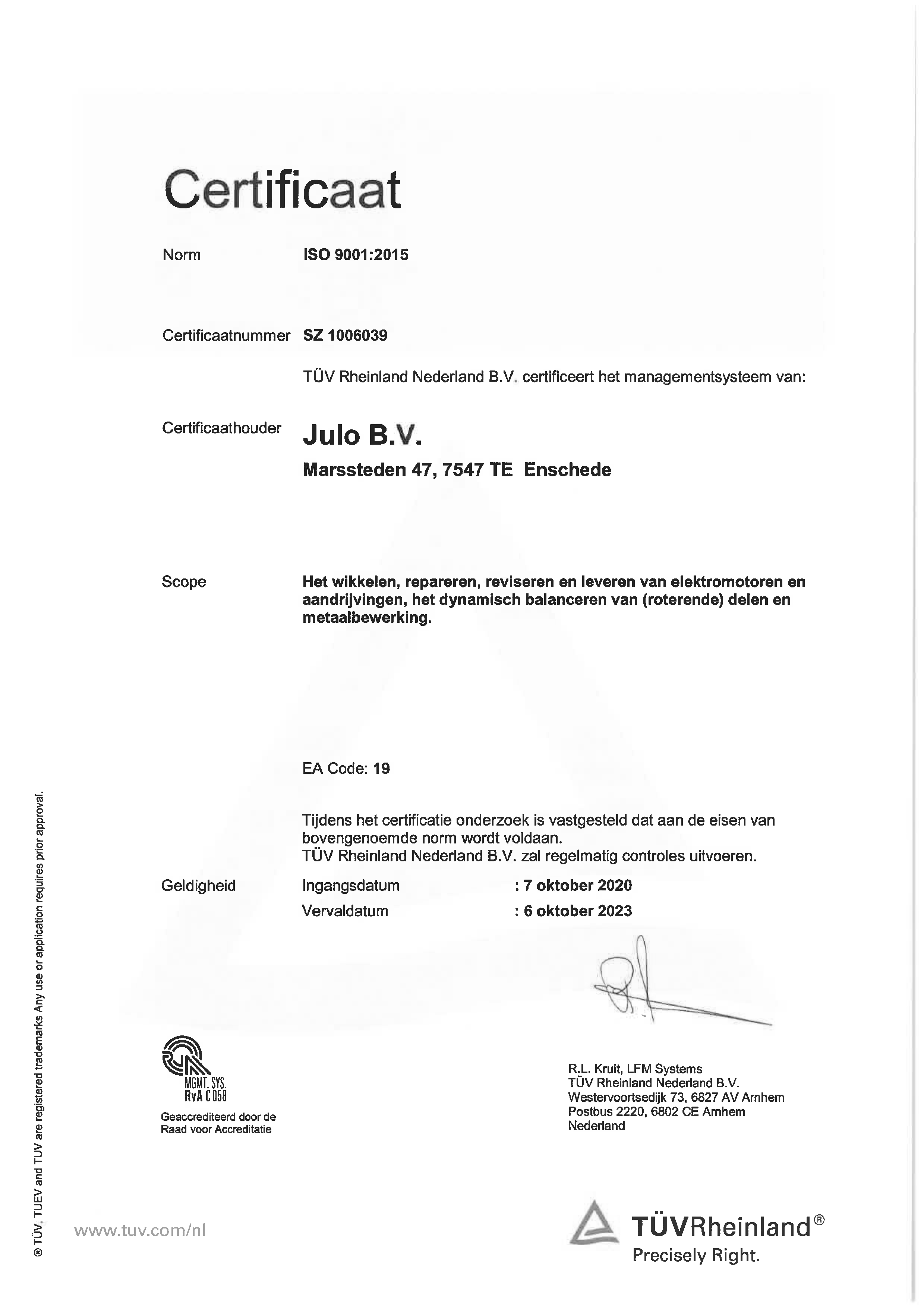 ISO 9001 2015 - certificaat 2020