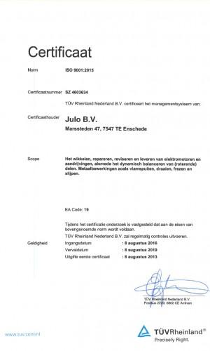 ISO certificaat 9001-2015 Aug 2016