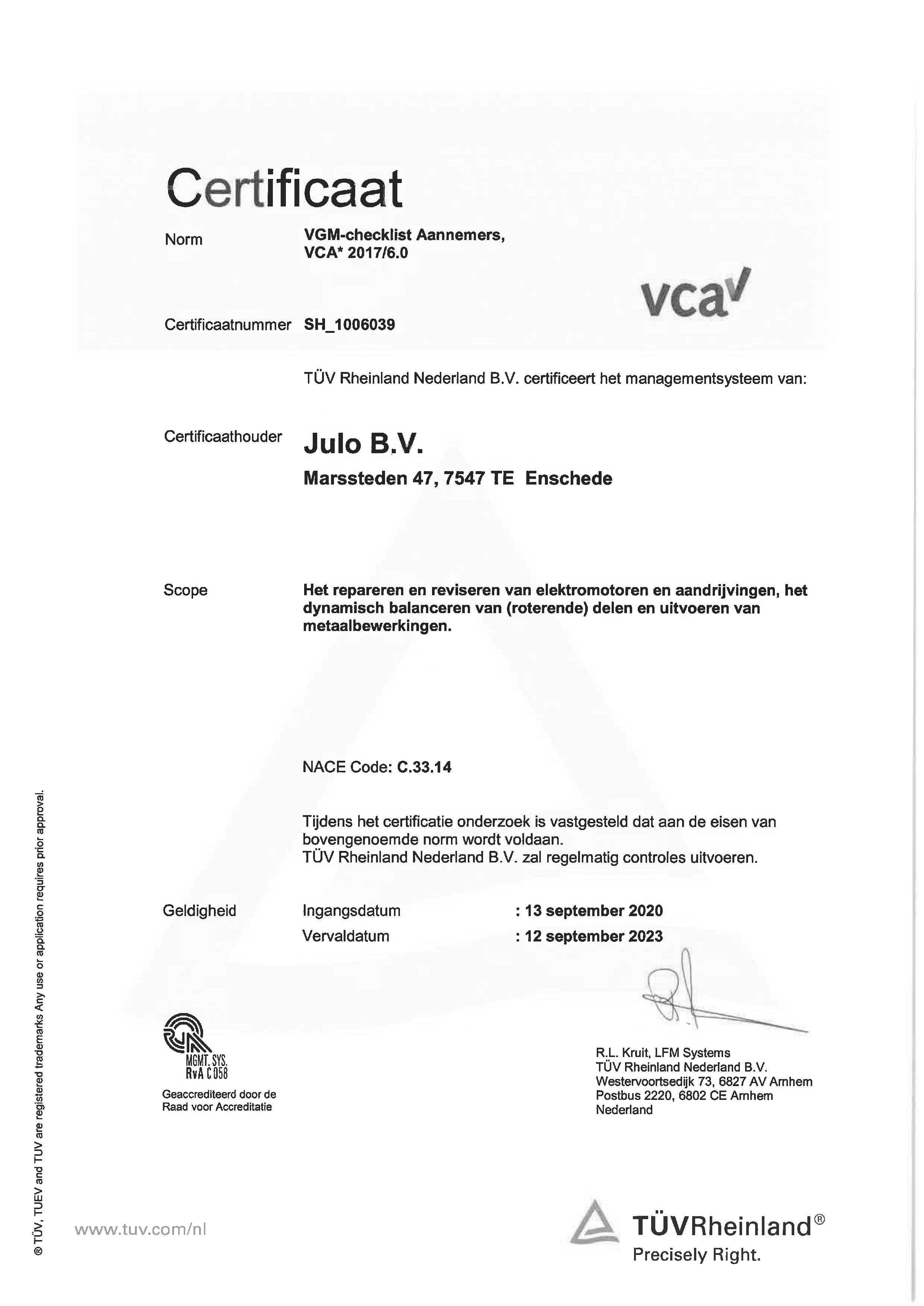 VCA 2017-6.0 certificaat 2020
